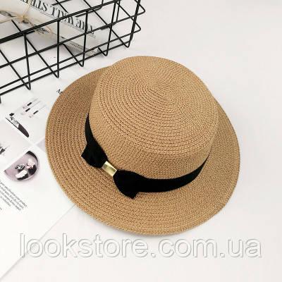 Шляпа женская летняя канотье с бантом кофе с молоком
