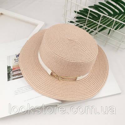 Шляпа женская летняя канотье с металлической пряжкой розовая (пудровая)