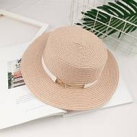 Шляпа женская летняя канотье с металлической пряжкой розовая (пудровая), фото 1