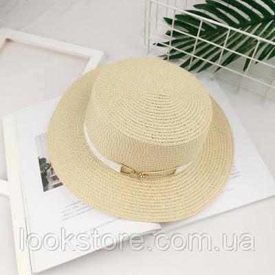 Шляпа женская летняя канотье с металлической пряжкой кремовая
