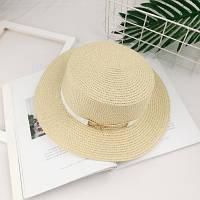 Шляпа женская летняя канотье с металлической пряжкой кремовая, фото 1