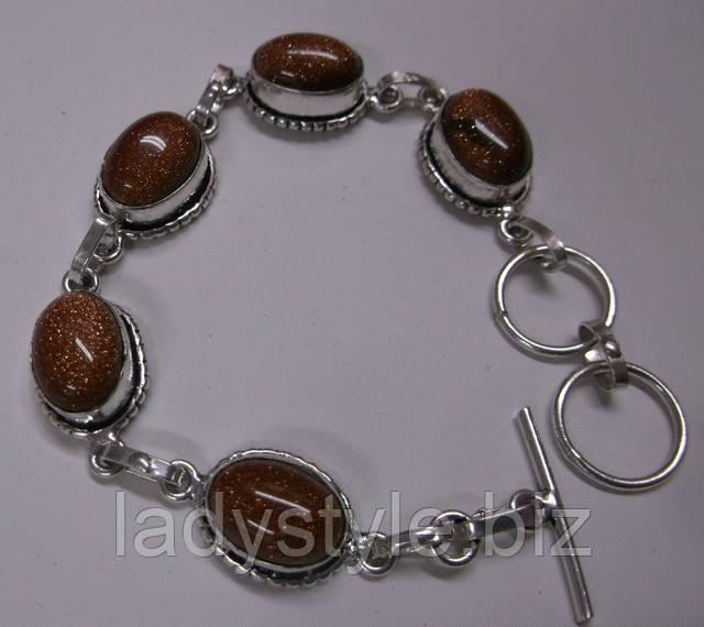 купить браслет серебряный украшения из серебра авантюрин золотой песок купить