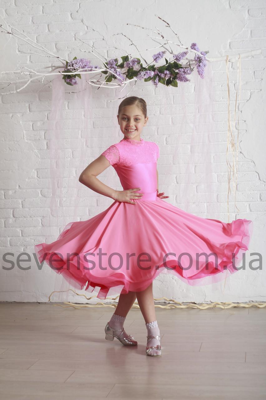 Рейтинговое платье Бейсик для бальных танцев с двумя юбками Sevenstore 9115 Корал