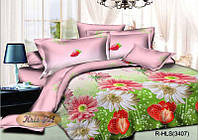"""Комплект постельного белья семейный, ранфорс 3D """"Цветы с клубничкой"""""""