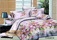 """Комплект постельного белья двуспальный, ранфорс, 3D """"Лиловые лилии"""""""