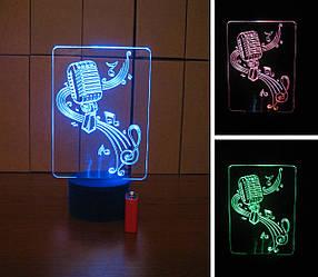 3d-светильник Микрофон и скрипичный ключ, 3д-ночник, несколько подсветок (на батарейке), подарок певцу