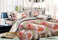 """Комплект постельного белья Евро двуспальный, ранфорс 3D """"Розовый вальс"""""""