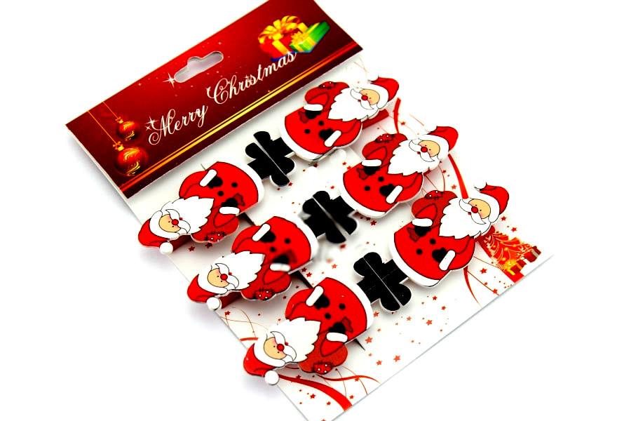 Набор декоративных прищепок Дед Мороз 6шт