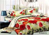 """Комплект постельного белья двуспальный, ранфорс, 3D """"Розы, тюльпаны, бусы"""""""