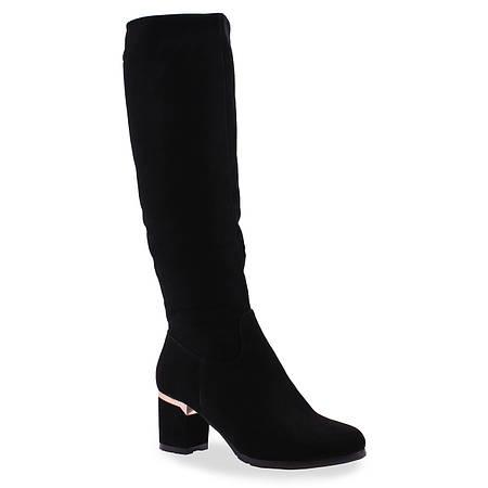 Замшевые женские сапоги Soti Sony (зимние, на удобном каблуке, черные, теплые, стильные)