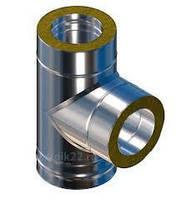 Дымоходный тройник с утеплением 90гр.130мм толщиной 1,0 мм/430  в оцинковке 0,7 полимер мат.