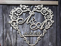 Свадебный герб. Герб на свадьбу. Деревянное украшение стола. Монограмма