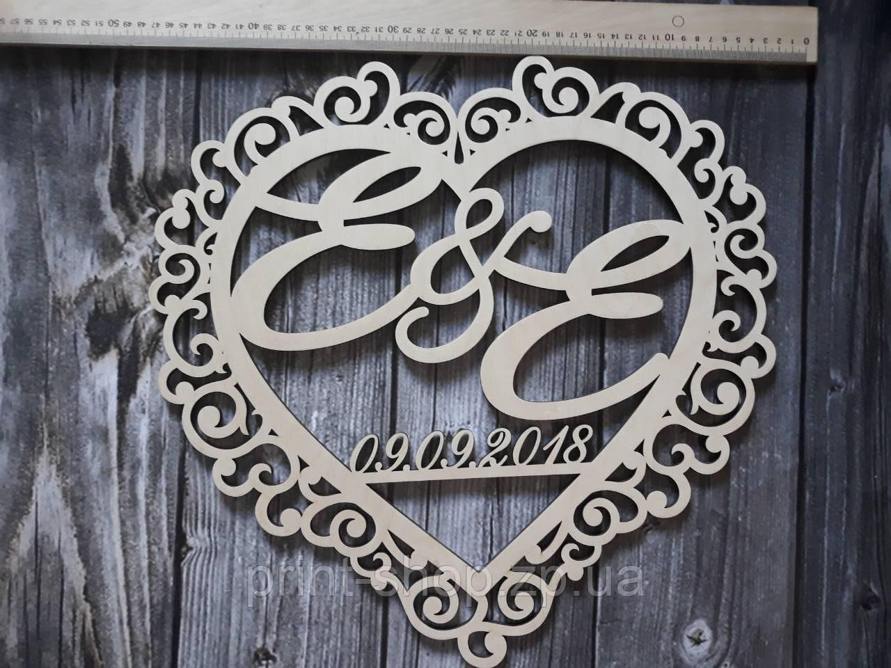 Монограмма, Свадебный герб. Герб на свадьбу. Деревянное украшение стола. Монограмма