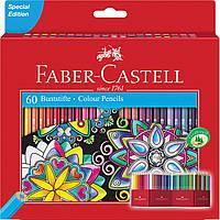 Карандаши цветные Faber-Castell 60 цветов в картонной раскладной коробке, 111260