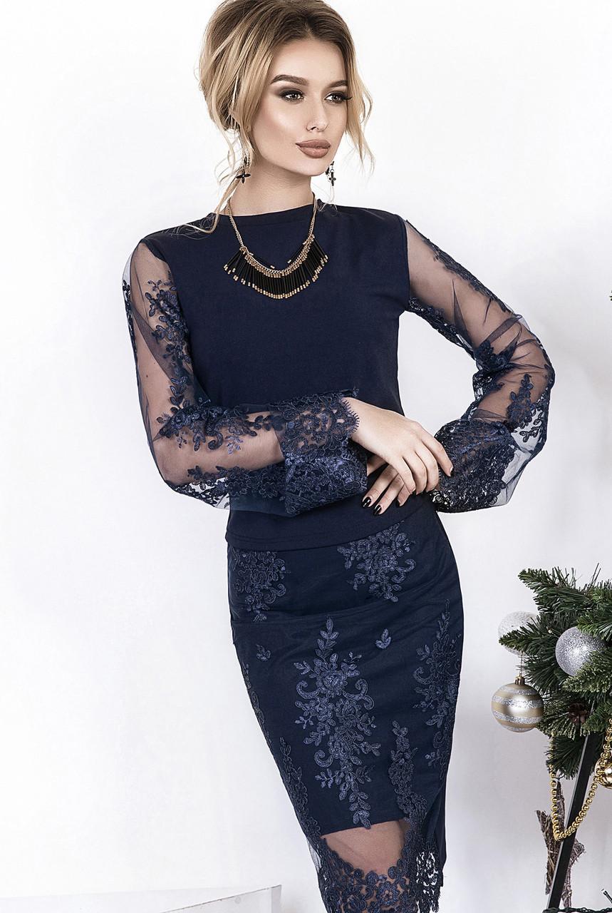 Элегантный вечерний костюм: кофта с прозрачными рукавами и юбка футляр украшены красивой вышивкой