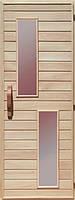 Деревянная дверь с матовым стеклом для сауны Украина 80х200 липа (вариант 2)