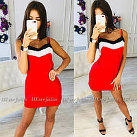 Женское модное платье-сарафан на бретелях с контрастными вставками, фото 1