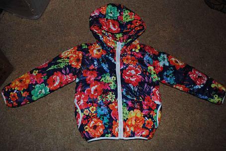 Курточка демисезонная для девочек с цветочками, фото 2