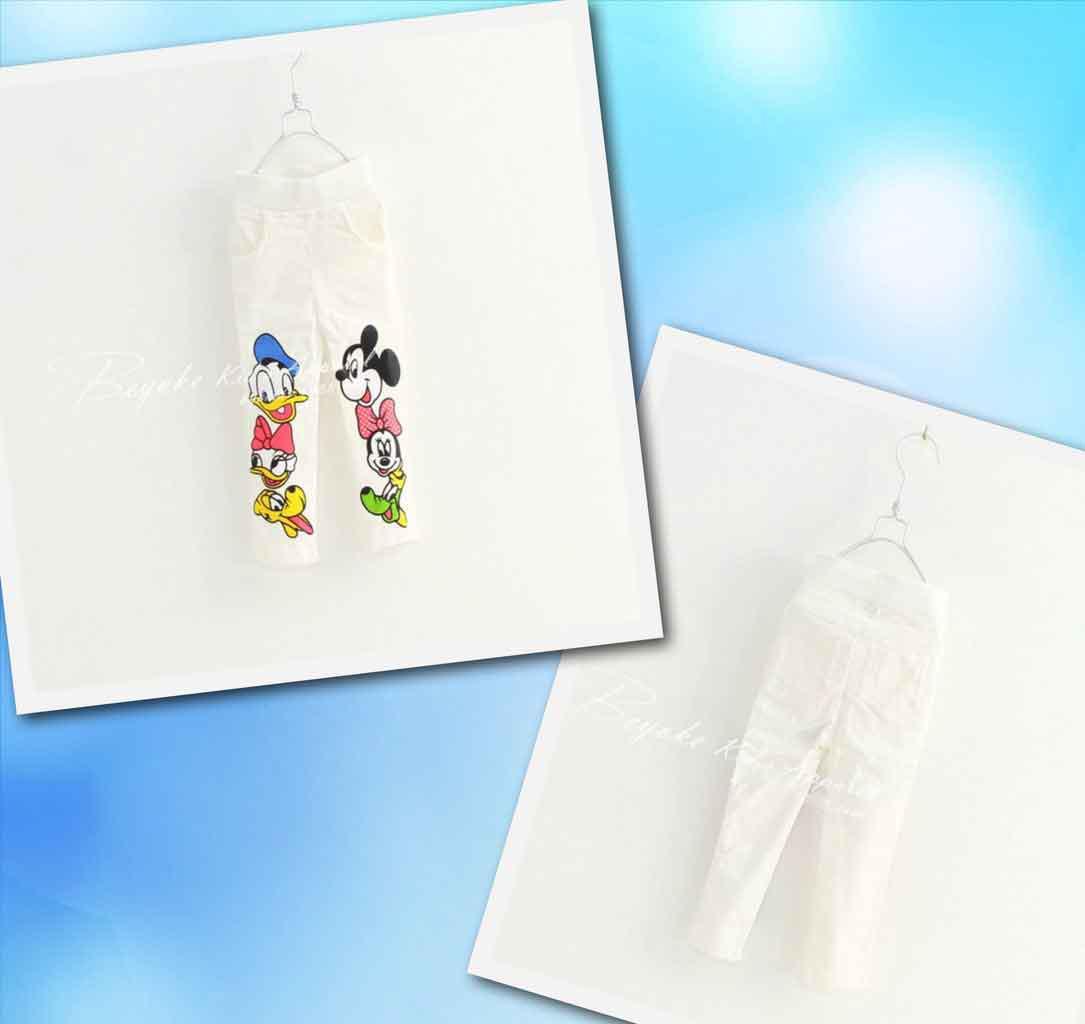 Джегинсы для девочек с рисунком Donald and Mickey белые