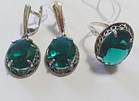 Серебряный комплект Империя с зеленым кристалом, фото 1