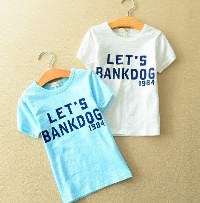 Футболка для мальчиков голубая Lets Bankdog 6054