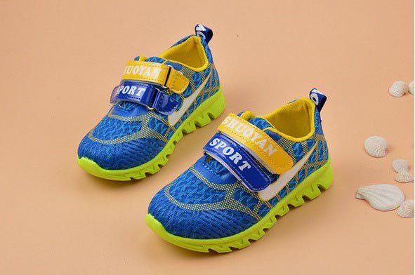 Кроссовки детские салатовые с синим Sport 6272