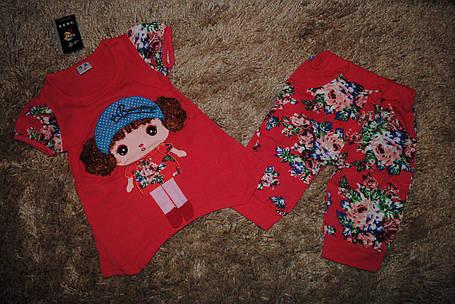 Костюм для девочек летний красный 6513, фото 2