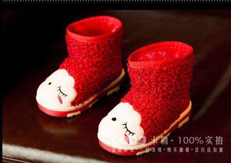 Ботинки детские на меху  красные 7031