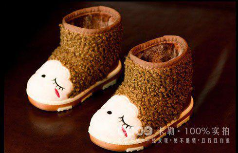Ботинки детские на меху коричневые 7030