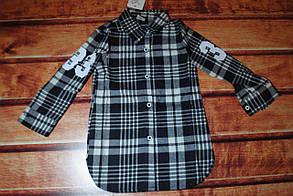 Рубашка для девочек в клеточку серая 7383, фото 2