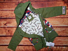 Курточка для мальчиков демисезонная парка хакки 7604, фото 3