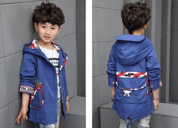 Курточка для мальчиков парка синяя 7603