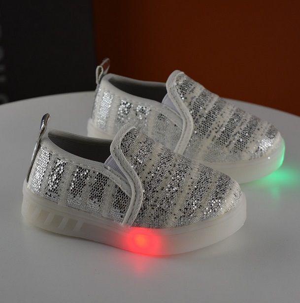 Мокасины детские серебристые LED подошва 7678