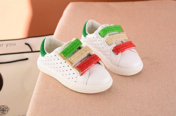Туфли детские летние экокожа белие с зеленым 7930