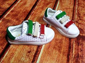 Туфли детские летние экокожа белие с зеленым 7930, фото 2
