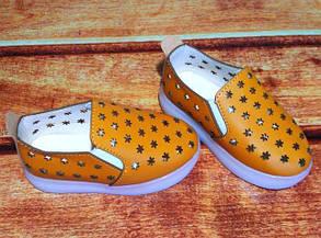 Туфли детские летние коричневые єко-кожа LED подошва 7994, фото 2