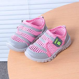 Кроссовки детские летние сетка розовые 7999, фото 2