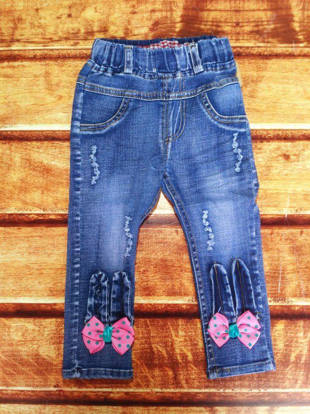 Джинсы для девочек синие с бантиками 86,98,104 размер