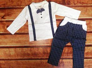 Нарядный костюм для мальчиков с бабочкой  белый штаны в клетку 98 р., фото 2