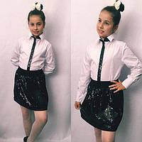 Школьная блузка детская белая декор пайетка рост:122-146 см, фото 1