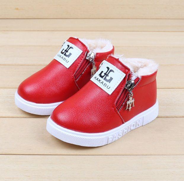 Ботинки детские зимние красные на девочку 9162