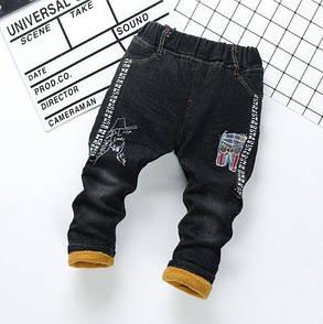 Джинсы для мальчиков утепленные черные 9181, фото 2