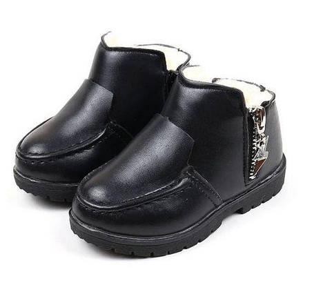 Ботинки детские демисезонные с мехом эко-кожа, фото 2
