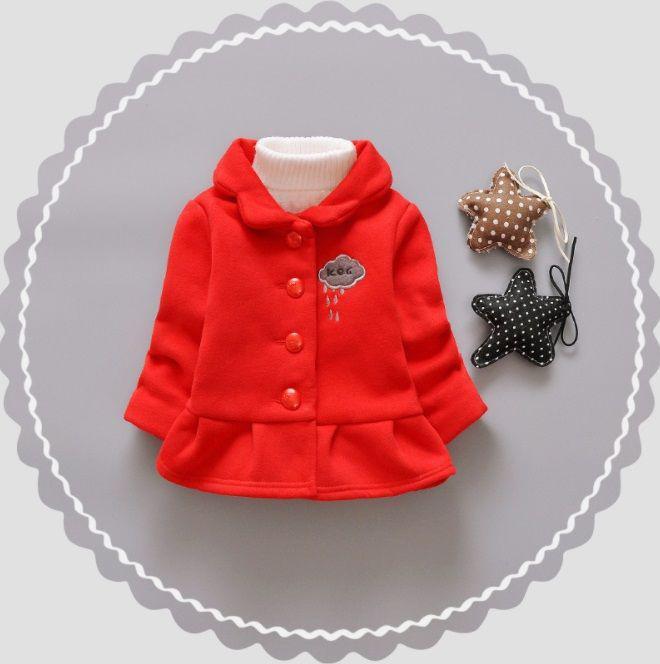 Пальто для девочек на весну красное с тучкой