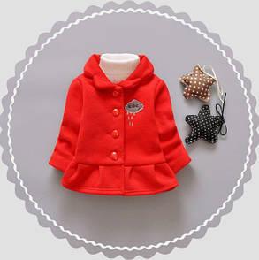 Пальто для девочек на весну красное с тучкой, фото 2