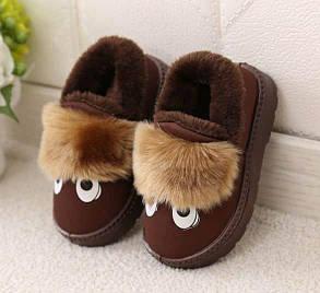 Тапочки домашние детские утепленные коричневые 34 размер, фото 2