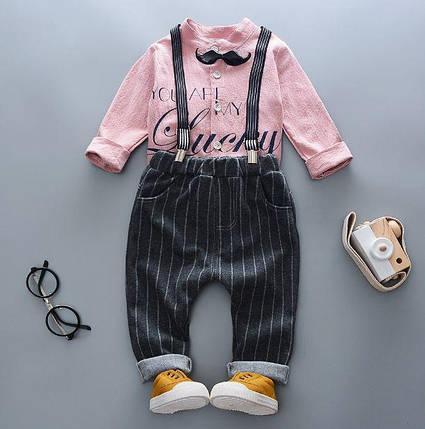Нарядный костюм двойка для мальчиков розовый, фото 2