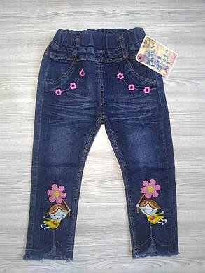 Джинсы детские на весну с цветочками синие 104. 110 размер, фото 2