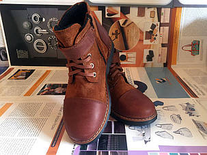 Ботинки детские из натуральной кожи коричневые Art 09, фото 2