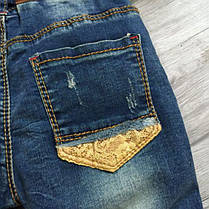 Джинсы для девочек рваные на весну темно-синие 122,140 размер, фото 3